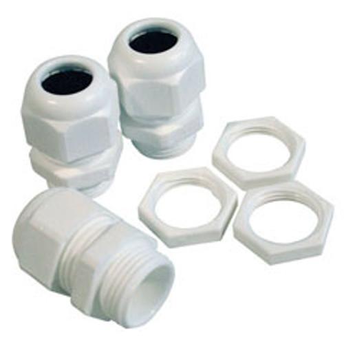 20mm Nylon Glands- Locknuts Kit 10 Pack, IP68 White (DFL2NG20WKIT)