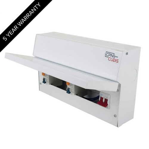 12 Way Lumo Metal Split Load Consumer Unit 100A Main Switch + 2 x 80A 30mA RCD (DFL3MCU18S80TIW)