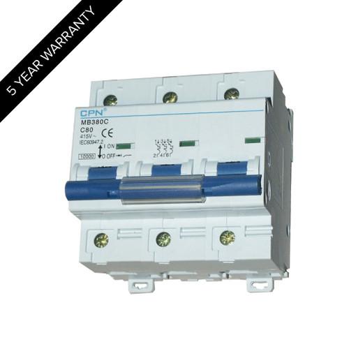80A 3P 10kA Type C MCB (DFL3MB380C)
