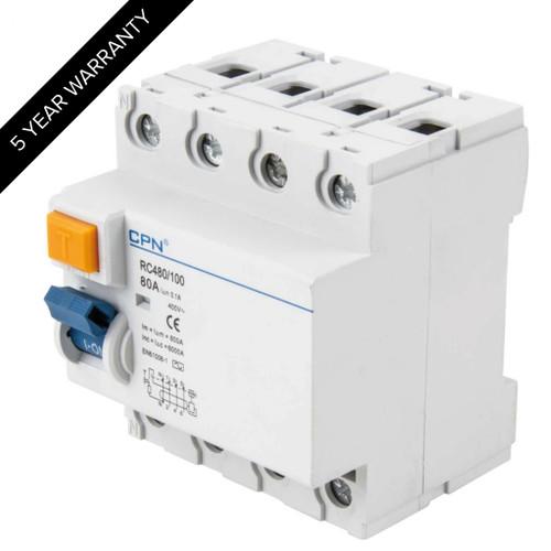 80A 4P 100mA RCD (DFL3RC480100)