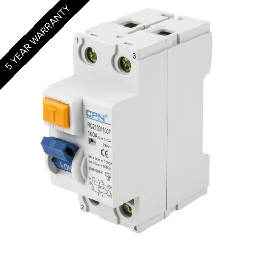 100A 2P 100mA Time Delay RCD (DFL3RC2100100T)