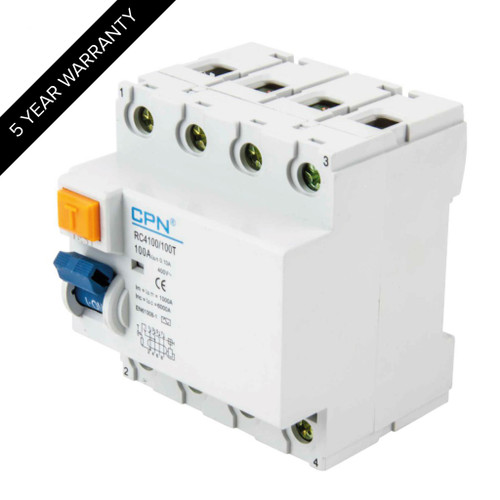 100A 4P 100mA Time Delay RCD (DFL3RC4100100T)