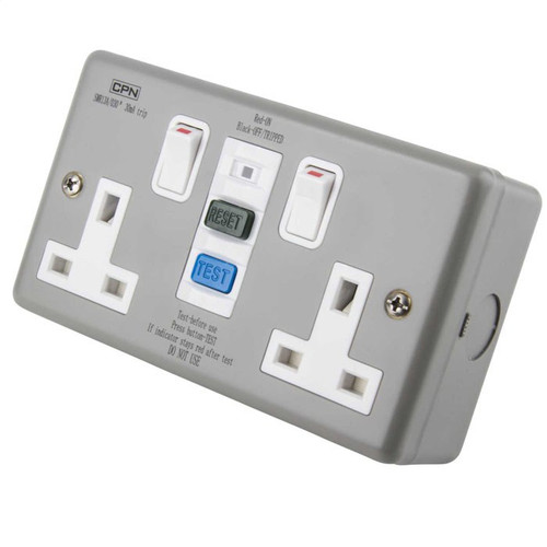 13A 2 Gang Double Metal RCD Socket 30mA (DFL3SMR13A030)