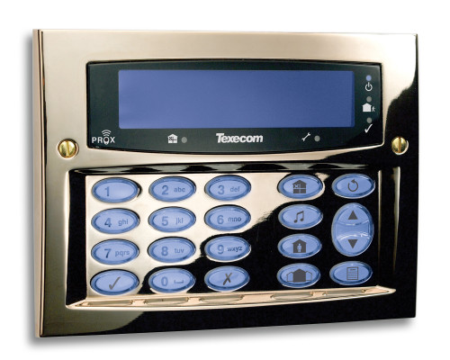 Texecom Premier Elite Flush Mount Keypad Polished Brass