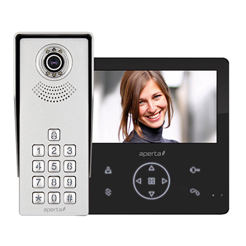 Colour Video Door Entry Keypad System with Record Facility - Black