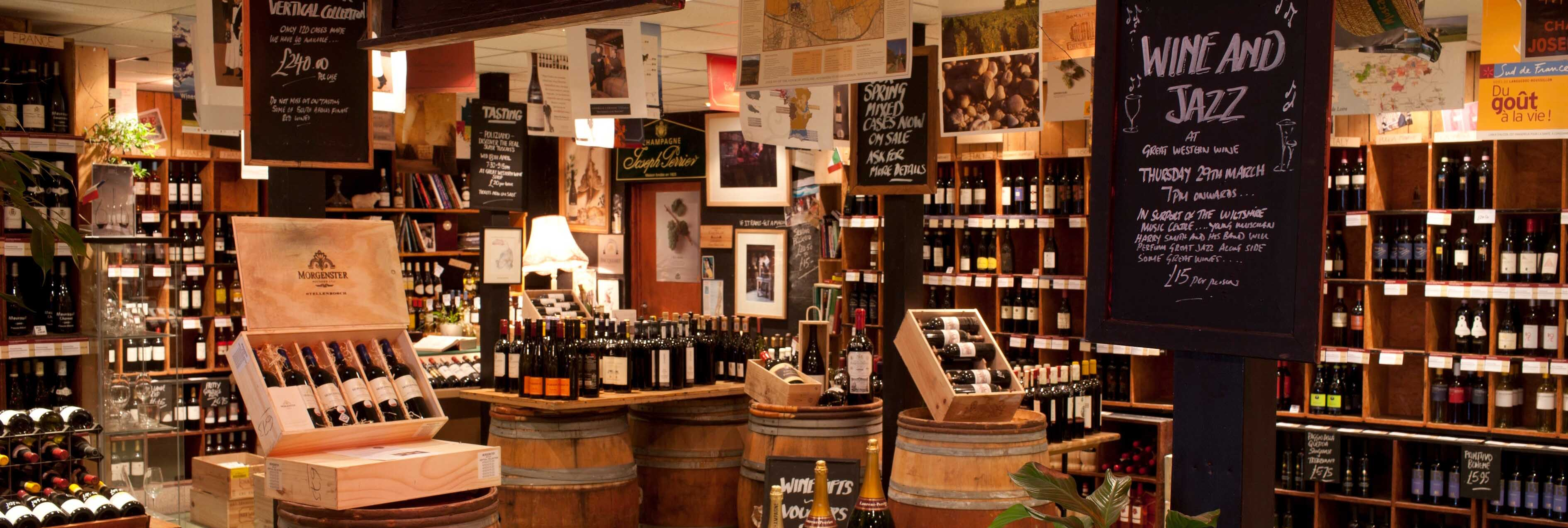 A view of the inside of the Great Wine Co. shop in Bath