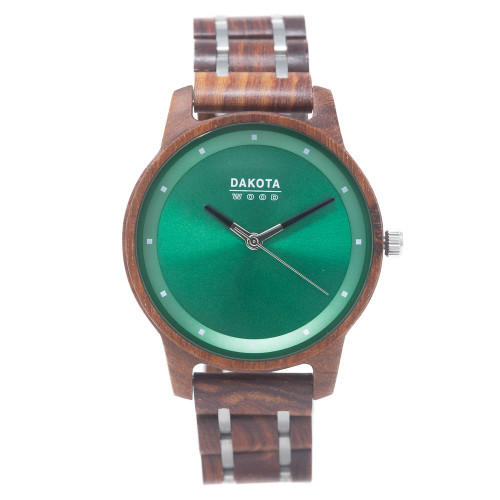 Red Sandalwood / Steel Hybrid - Green Dial