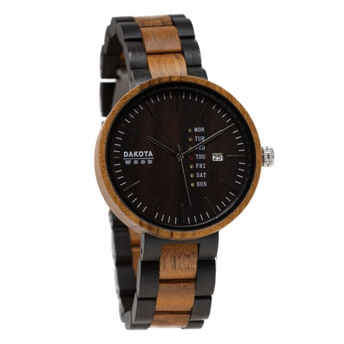 Wood Calendar - Teak Case Ebony Dial