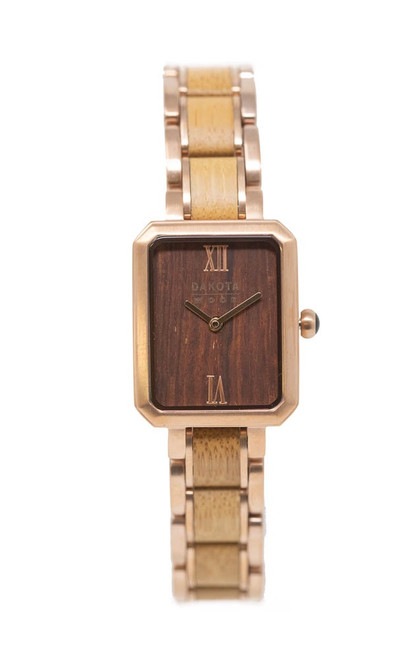 Dakota Wood Petite Hybrid - Bamboo and Rose Gold Steel