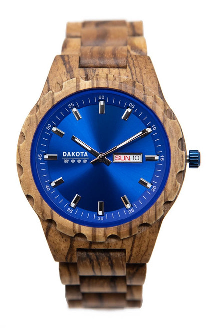 Dakota Wood - Zebrawood Case and Band Blue Dial