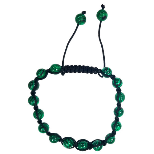 Malachite Stone Bead Macrame Bangle