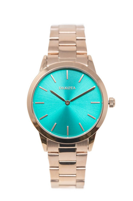 Midsize Sunray - Rose Gold Case/Band Teal Dial