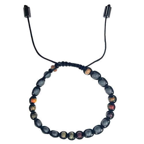 Macrame Bracelet - Matte Hematite-Red Stone