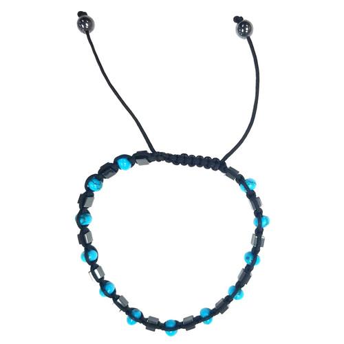 Macrame Bracelet - Blue Turquoise-Onyx