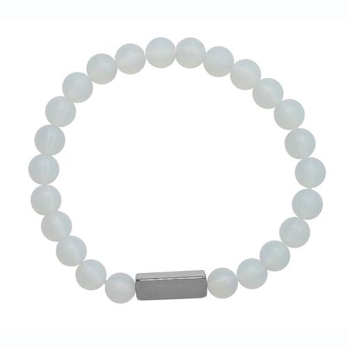 Translucent White Stone Bracelet 8MM