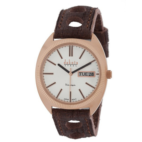 Dakota Vintage Wrist Watch - IP Rose/Silver Dial