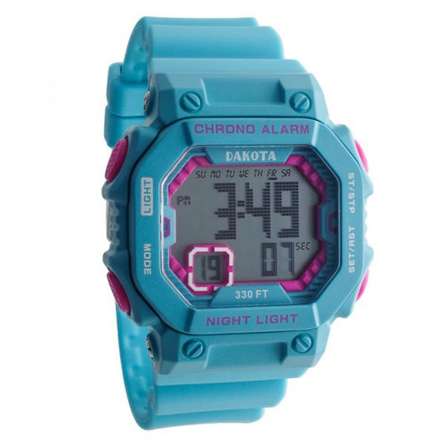 Midsize Dakota Square Digital Watch E.L. - Blue/Pink