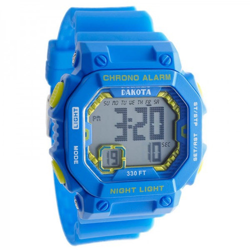 Midsize Dakota Square Digital Watch E.L. - Blue/Yellow