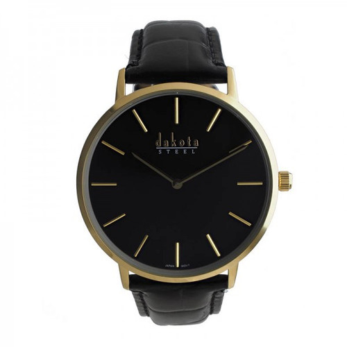 Slim Steel Dakota Leather Wrist Watch – Black/Gold