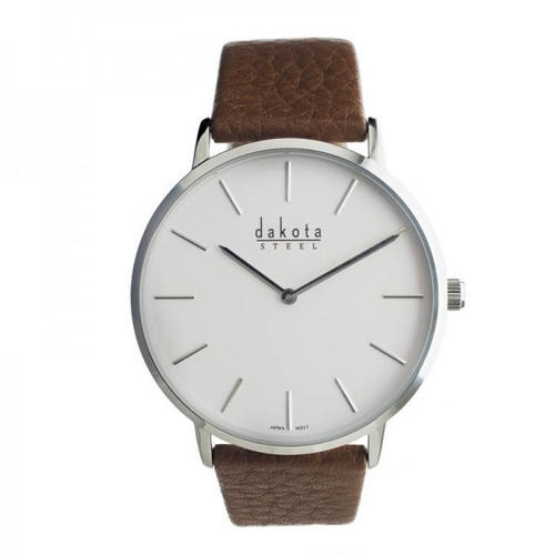 Slim Steel Dakota Leather Wrist Watch –White/Silver
