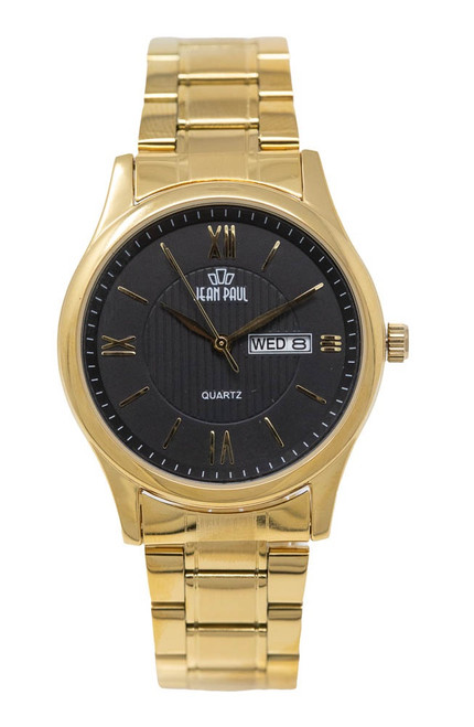 Jean Paul Everyday Metal - Gold Case/Band Black Dial Day/Date