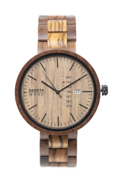 Wood Calendar - Walnut Case Zebrawood Dial