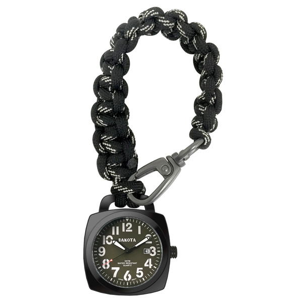 Paracord Clip - Black Case Green Dial