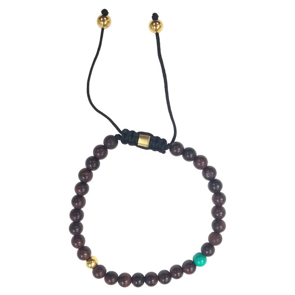 Matte Brown with Green / Gold Accent Beads