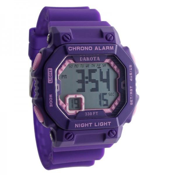 Midsize Dakota Square Digital Watch E.L. - Purple/Pink