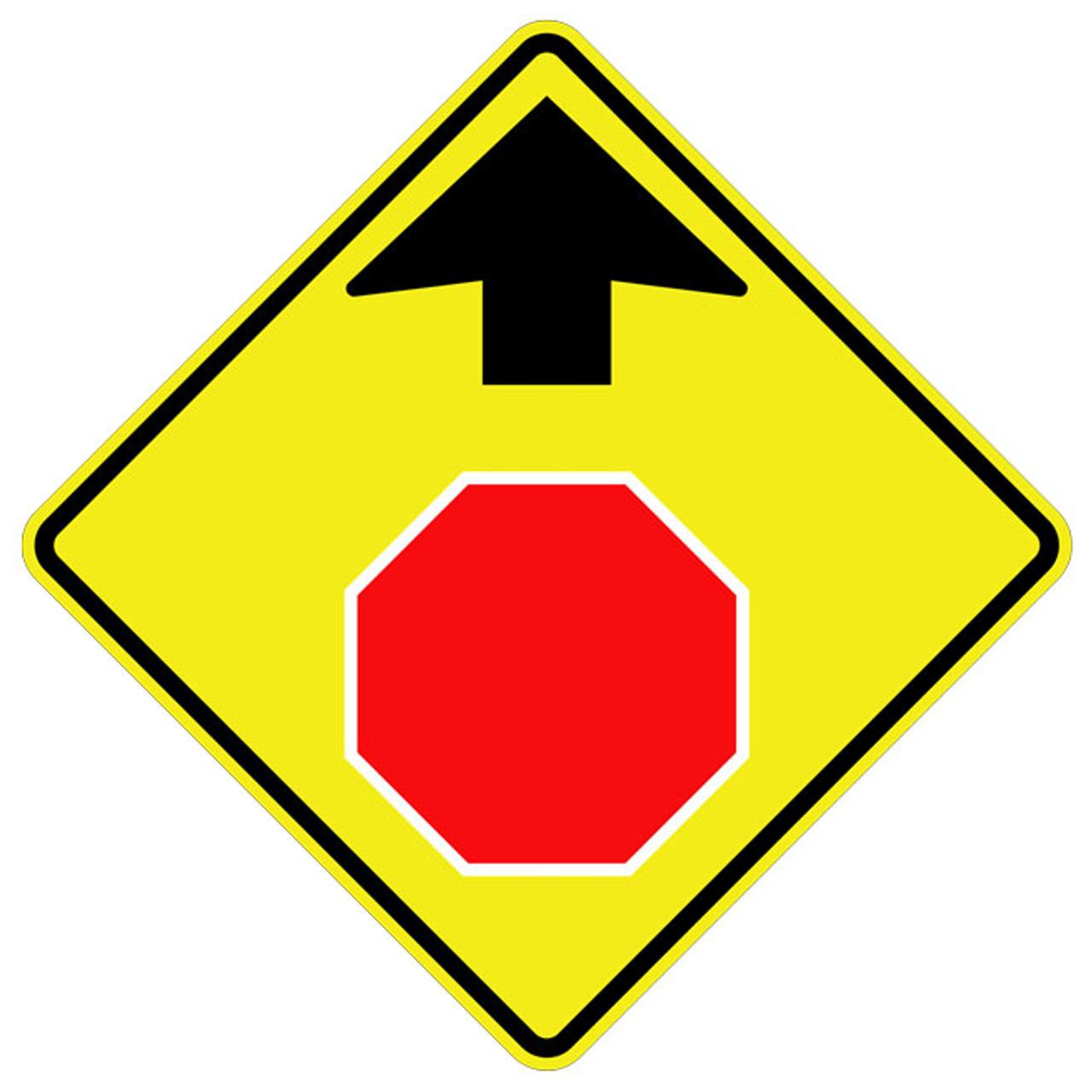 W3-1 Stop Ahead Sym Warning Sign
