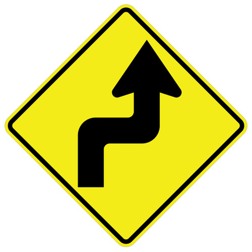 FED W3-1R Reverse Turn Right Warning SIgn