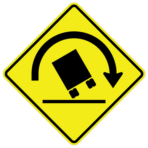 FED W1-13R Truck Rollover Right Warning Sign