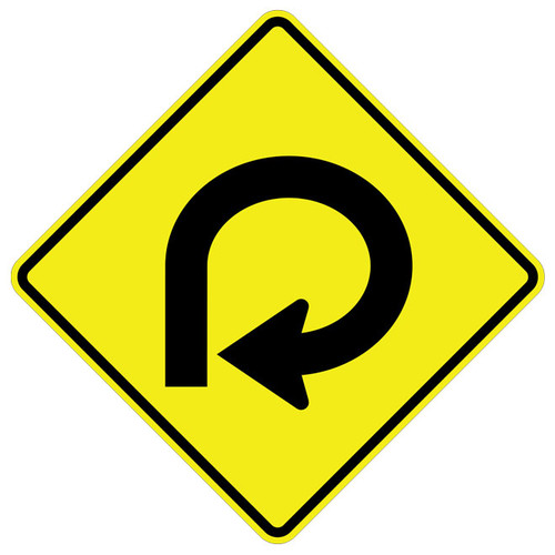 FED W1-15R 270 Degree Loop Right Warning Sign