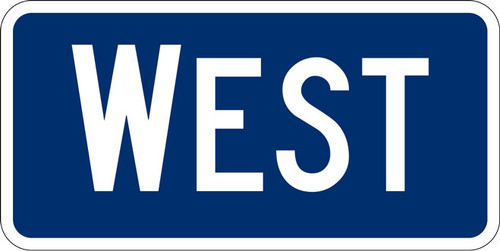 M3-4 WEST Route Marker Blue on White