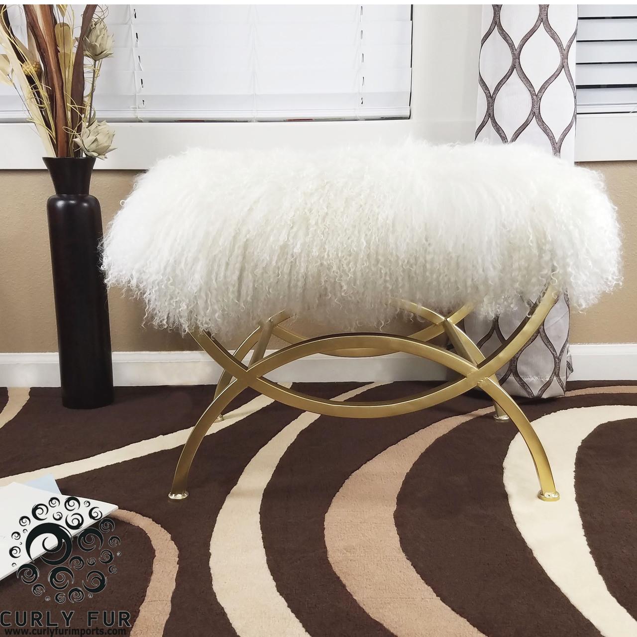High Quality Tibetan Mongolian Lamb White Fur Ottoman With Gold