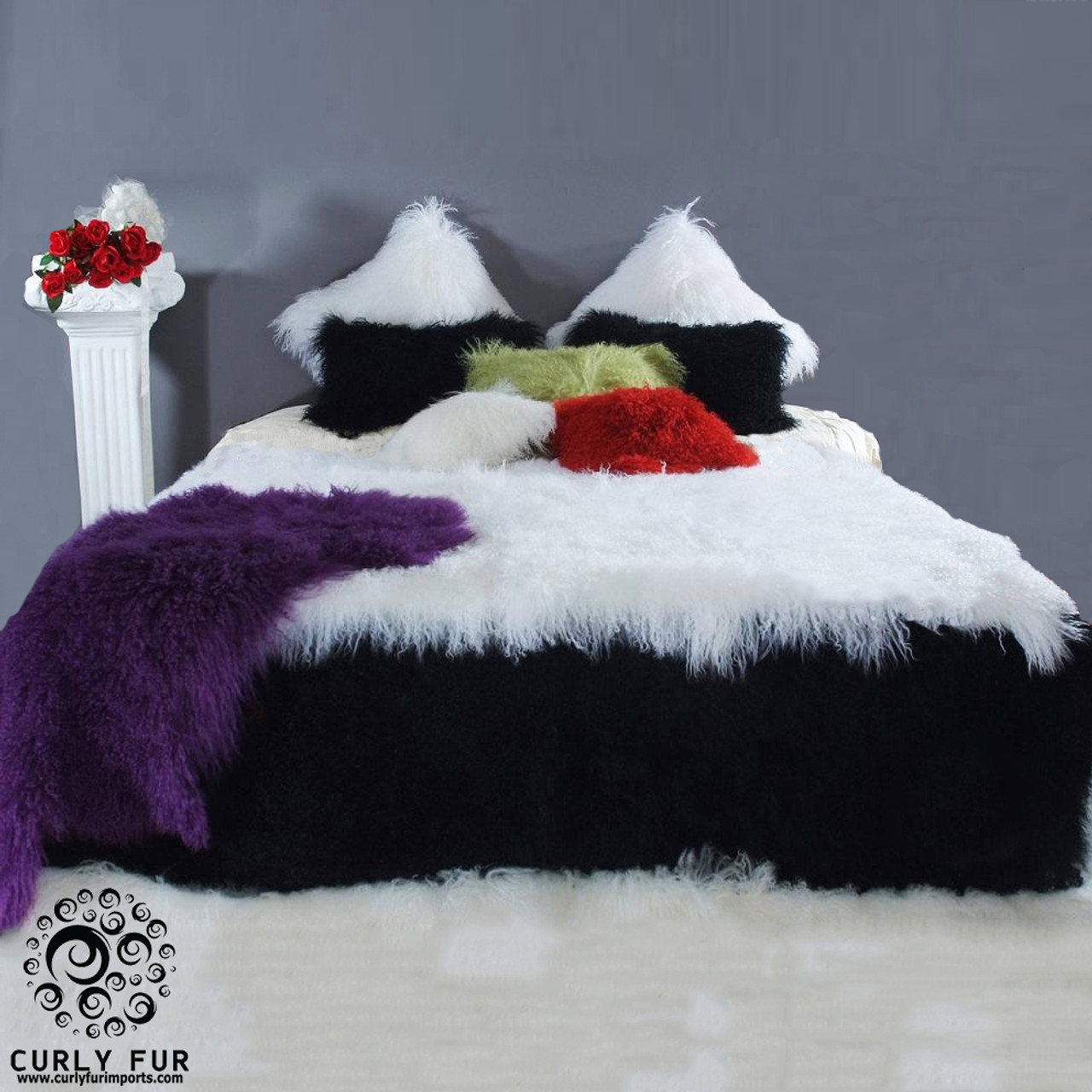 Gorgeous 100% real Tibetan   Mongolian lamb fur bedspread plus two pillows  with 150 + colors available. 1b0bd1564