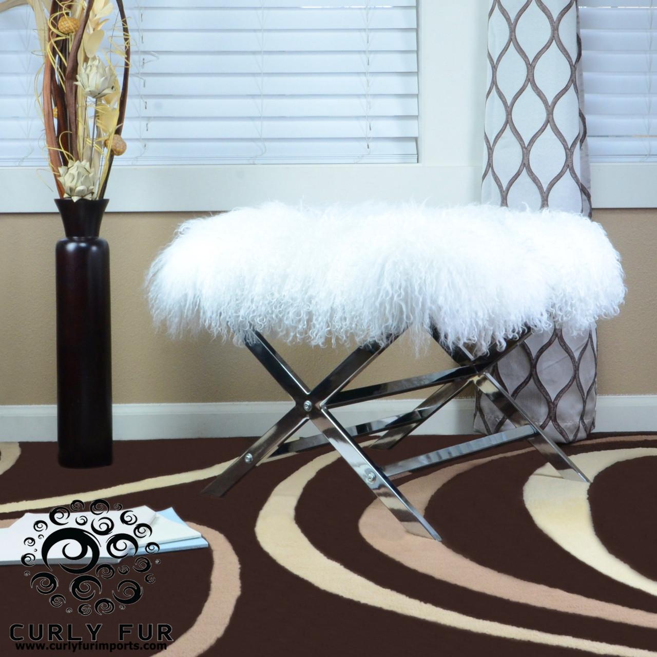 High Quality Tibetan Mongolian Lamb Fur Chrome Accent Ottoman White