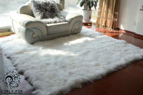 Wholesale Curly Long Hair Tibetan Mongolian Sheepskin Fur Rug Entertainment Memorabilia