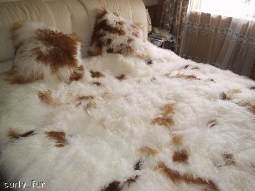 Queen Size Tibetan   Mongolian Lamb Fur Blanket Set Natural Colored Spots dd9f245a7