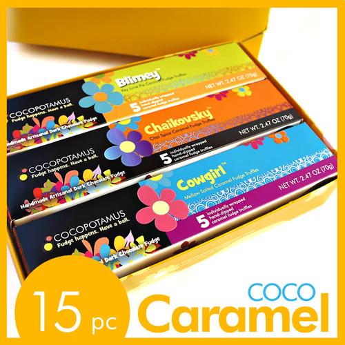 CocoCaramel 15 pc caramel set:  Chaikovsky (chai spice caramel truffles), Cowgirl (original mellow salted caramel truffles), and Blimey (Key lime pie caramel truffles).