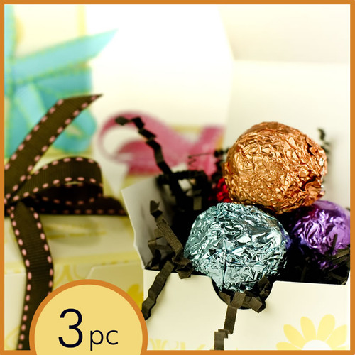 Corporate event favor box with standard gold loop: chocolate truffles - handmade, all natural, gluten-free chocolate truffles
