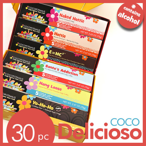 CocoDelicioso chocolate truffle set.  Contains 5 pc truffle box each of Hottie, Hang Loose, Yo-Ho-Ho, Santa's Addiction, Naked Hottie, and E=MC Squared