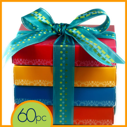 60 pieces of decadent chocolate truffles in a Cocopotamus chocolate gift box.  All Cocopotamus chocolate truffles are handmade, all natural and gluten-free.