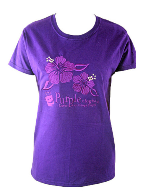 PURPLEologist T-Shirt with Hibiscus Flower