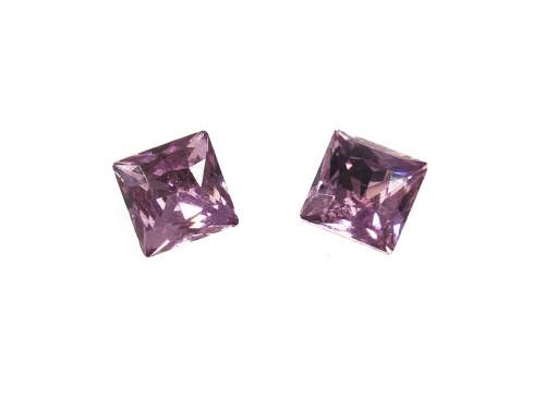 Purple Square Crystal Stud Earrings