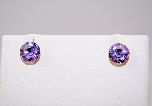 Violet Round Diamond Cut Crystal Stud Earrings