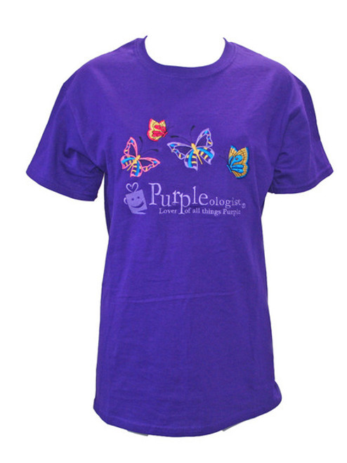 Purple Logo T-Shirt - Butterflies