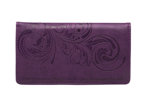 Purple Checkbook Cover Phil 4:13