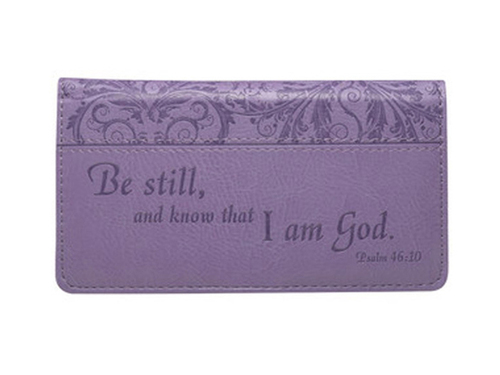 Lavender Checkbook Cover Psalm 46:10