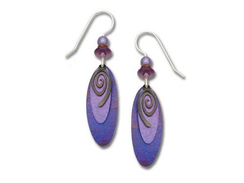 Purple Earrings With Swirl